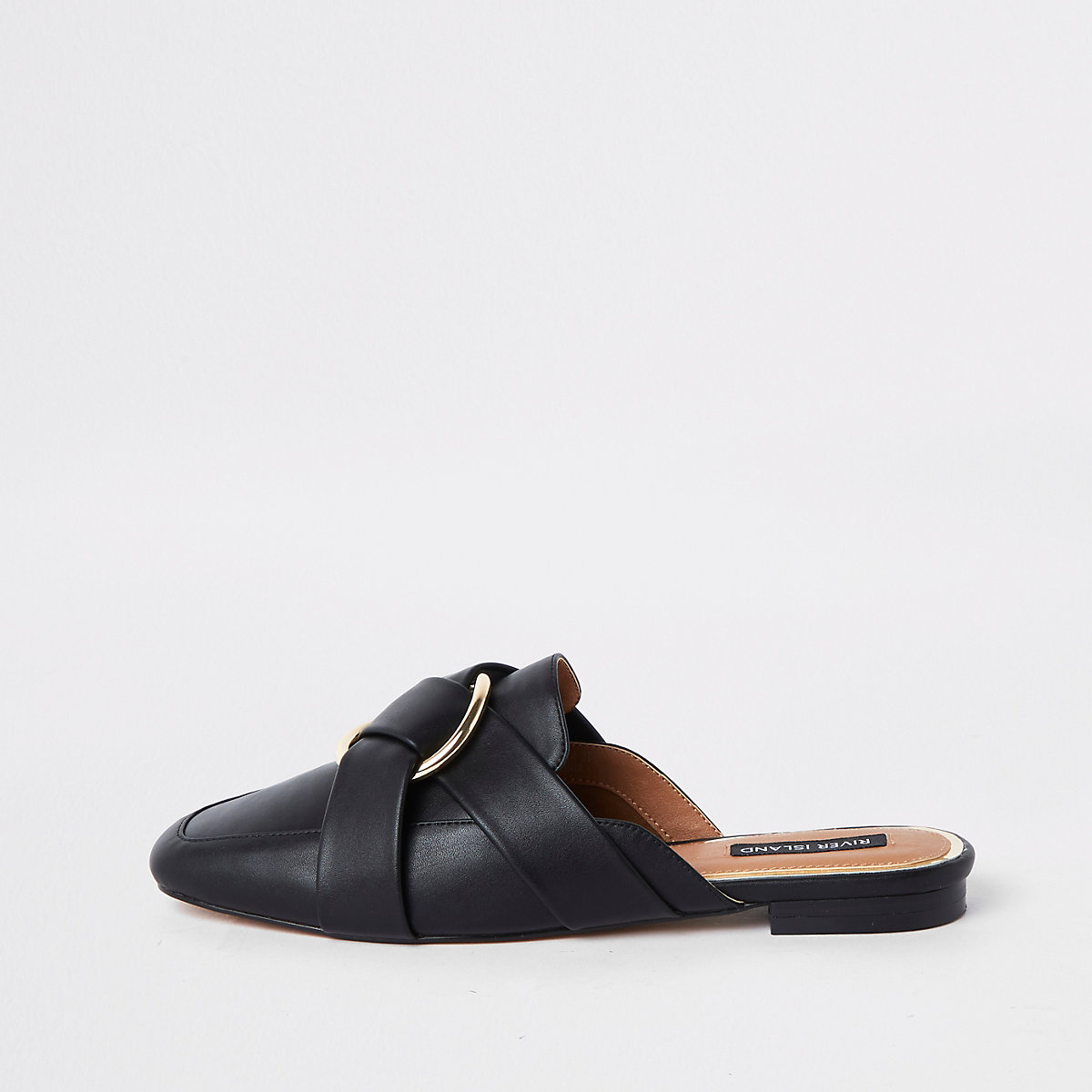 Black ring backless loafers