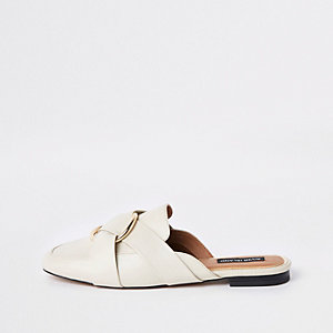 Ecru ring backless loafers