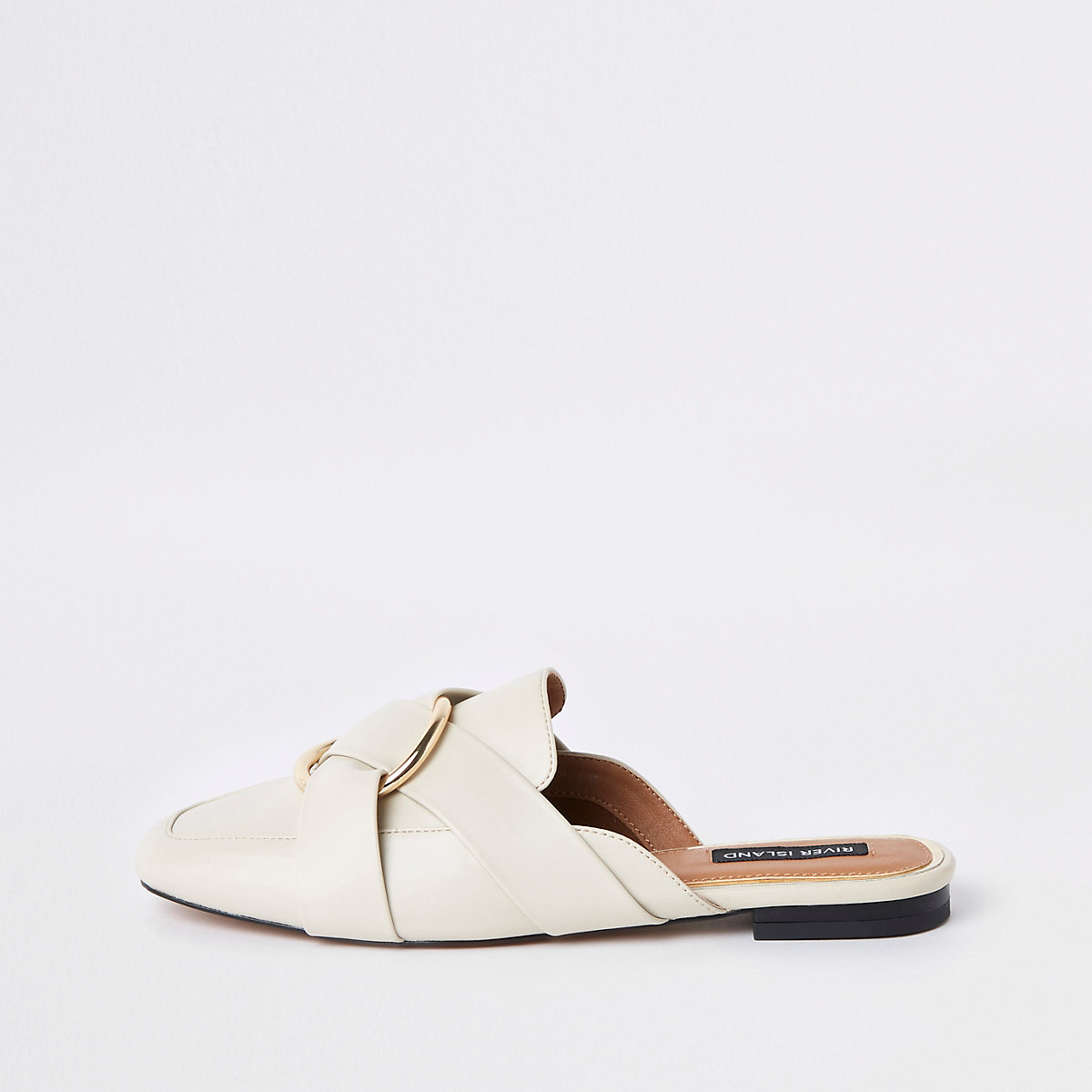 Ecru hielloze loafers met ring