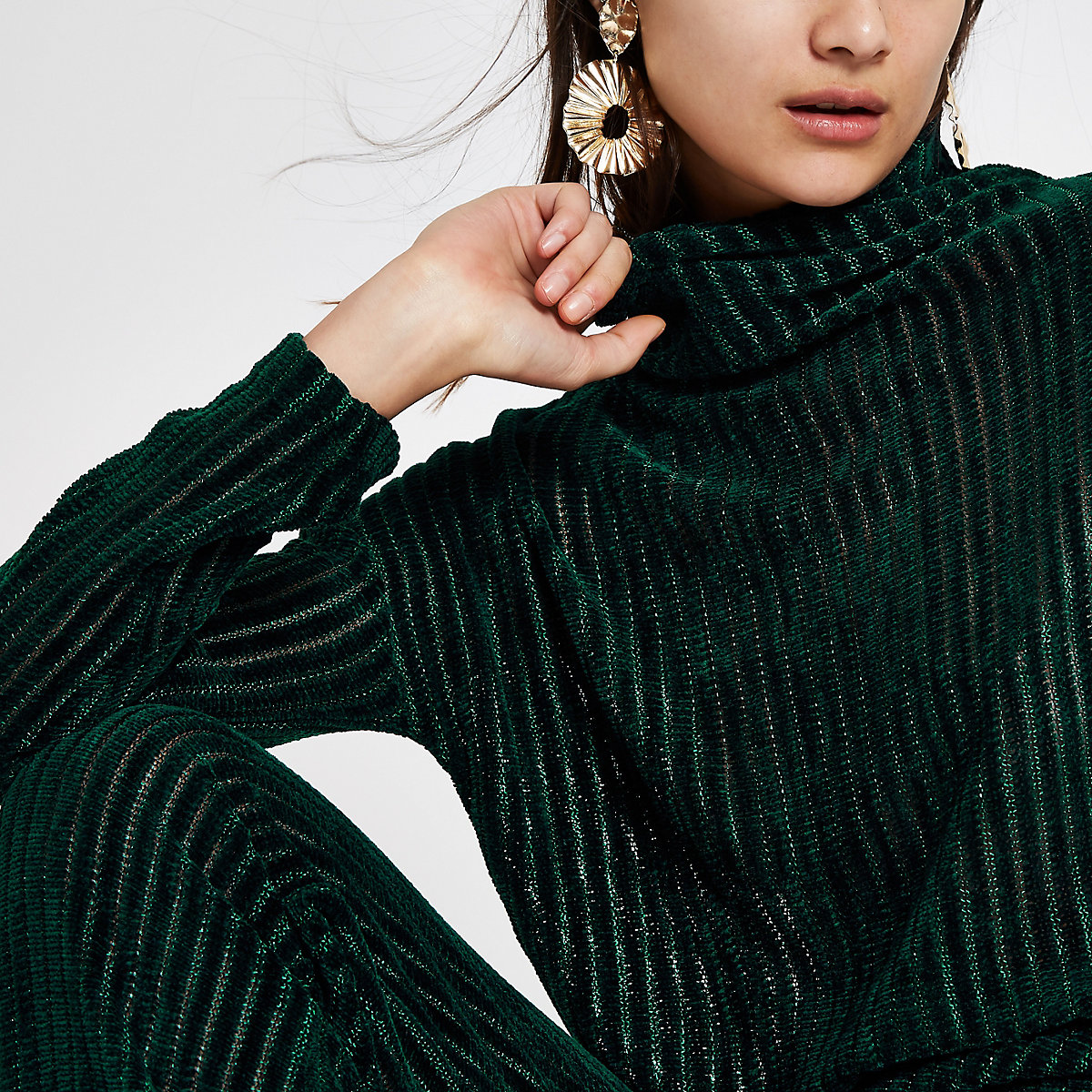 Dark green chenille knit long sleeve top