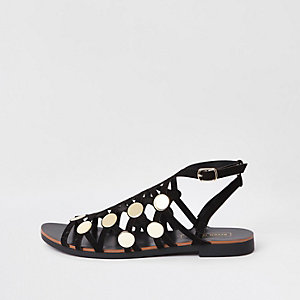 Black caged stud embellished sandals