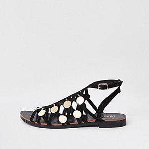 Sandales noires cloutées effet cage