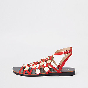 Red caged stud embellished sandals