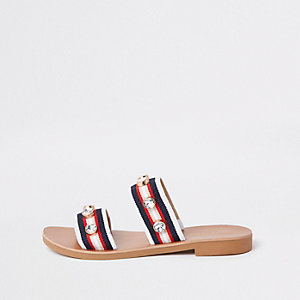 Red stripe gem studded strap mules