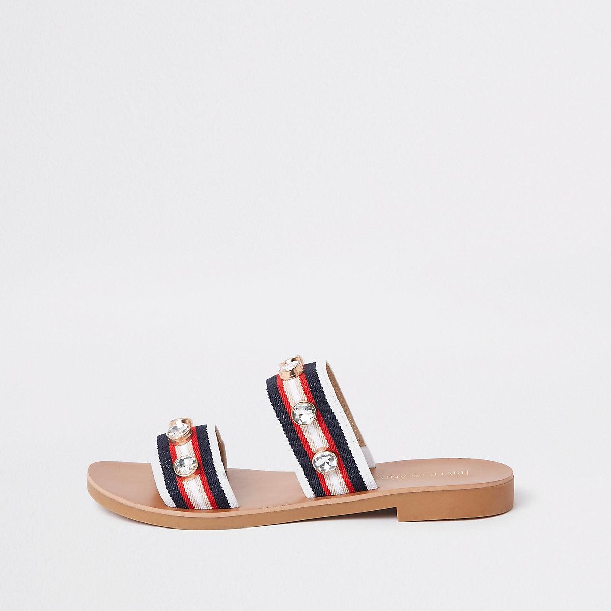 Red stripe gem studded strap mules