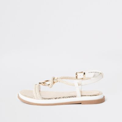 White Rope Ring Sandals by River Island