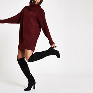 Burgundy knit roll neck sweater dress