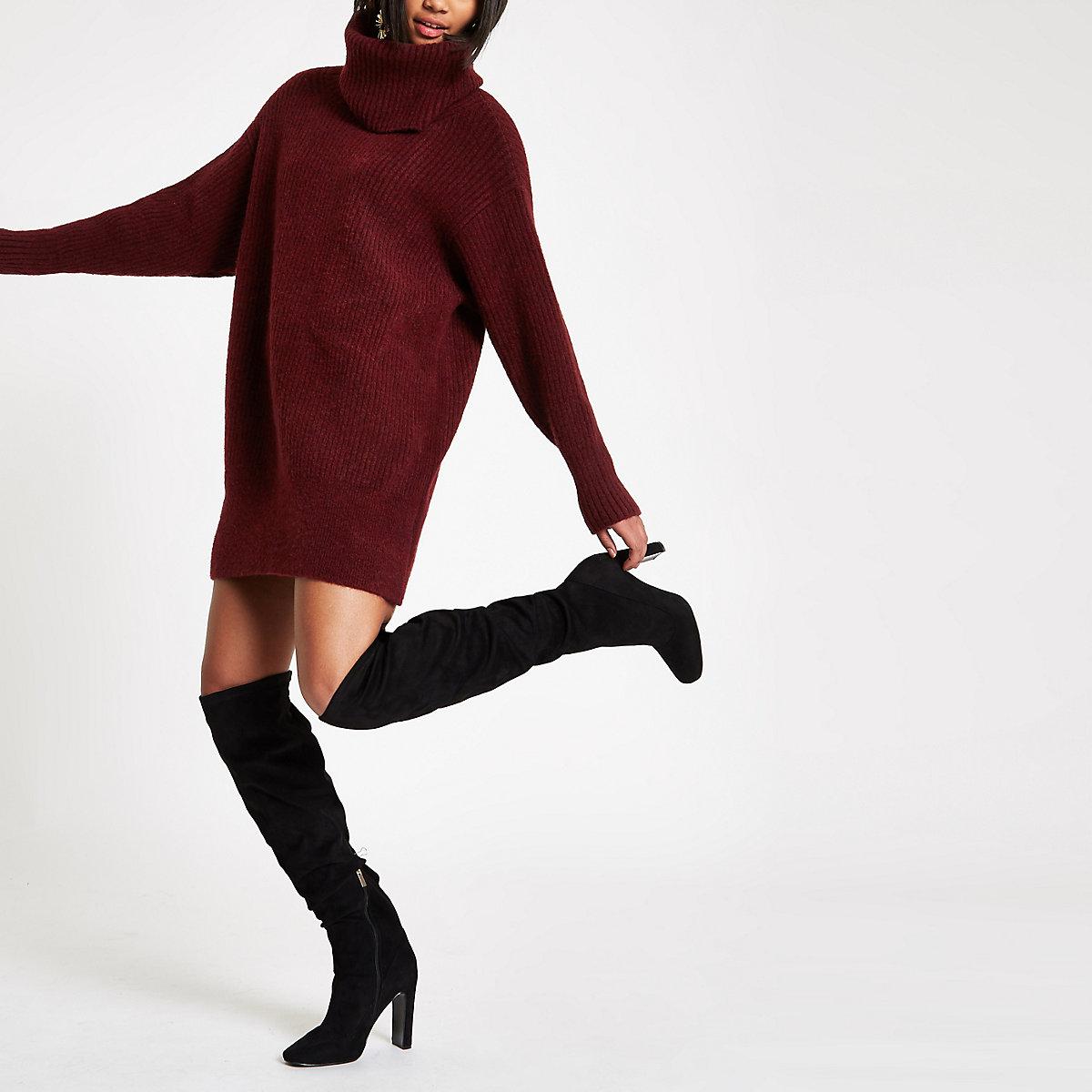 Burgundy knit roll neck sweater dress
