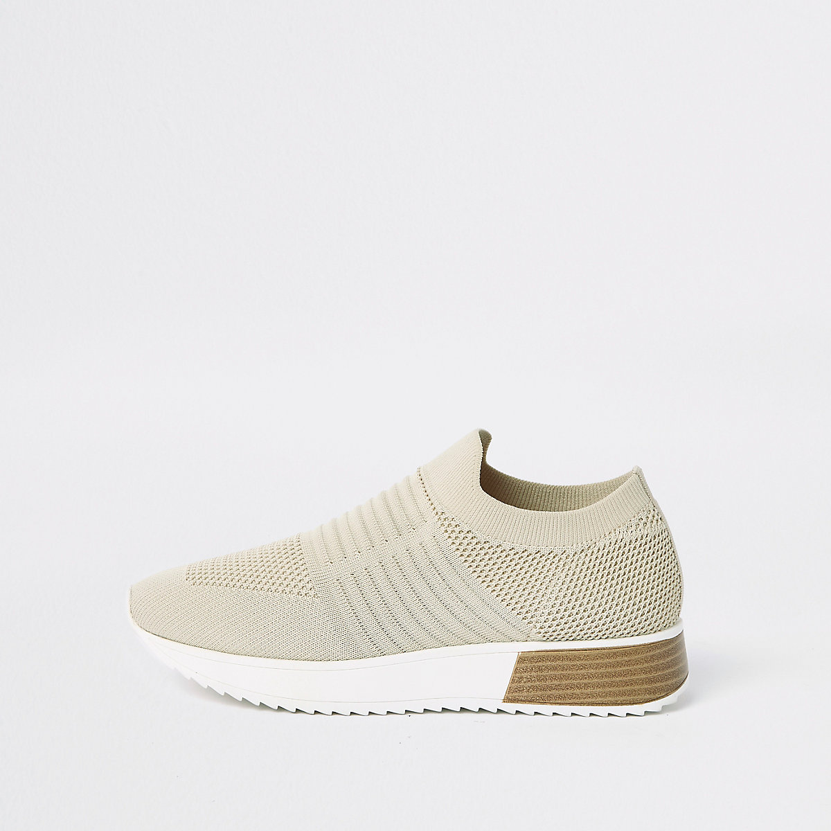 Beige knitted runner sneakers
