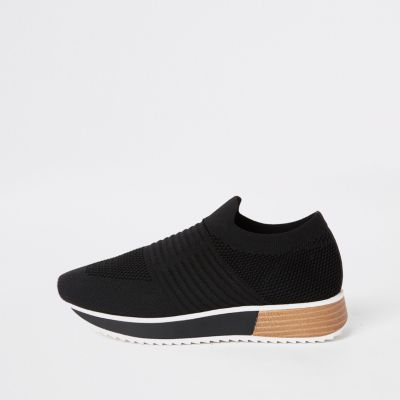 Black Knit Runner Trainers by River Island