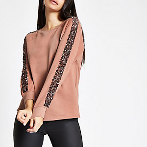 Pink sequin sleeve sweatshirt