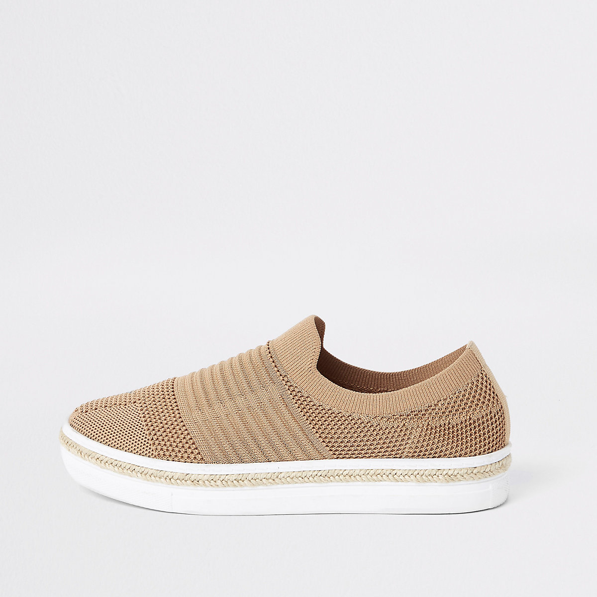 Beige knitted runner espadrille trainers