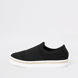 Black knitted runner espadrille sneakers