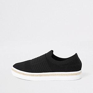 Baskets en maille noires style espadrilles