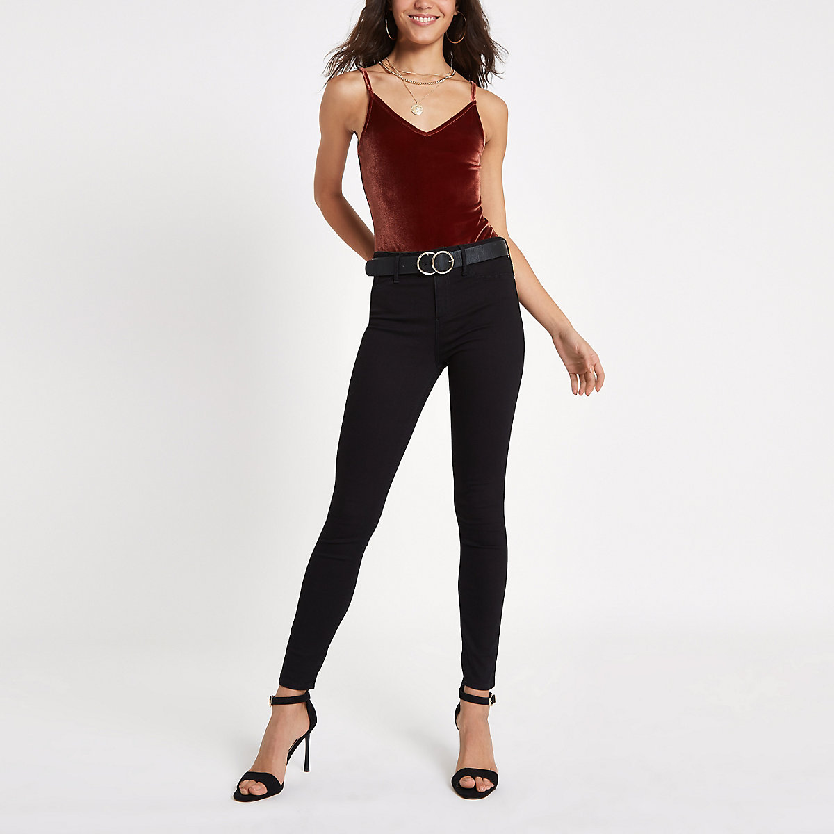 Red velvet V neck cami bodysuit