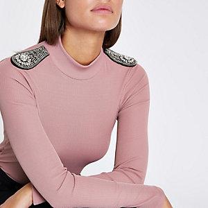 Light pink diamante embellished shoulder top