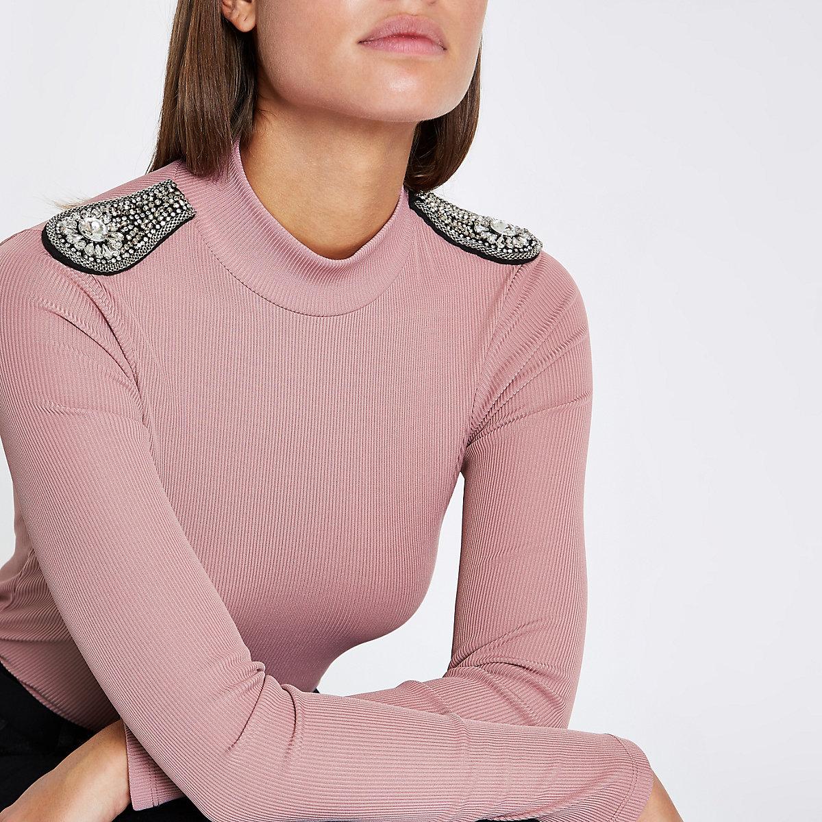 Light pink rhinestone embellished shoulder top