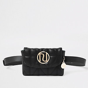 Black quilted RI belt bum bag