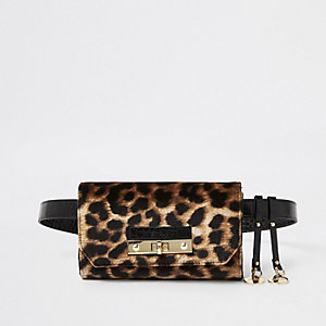 Brown leopard print lock front belted bum bag