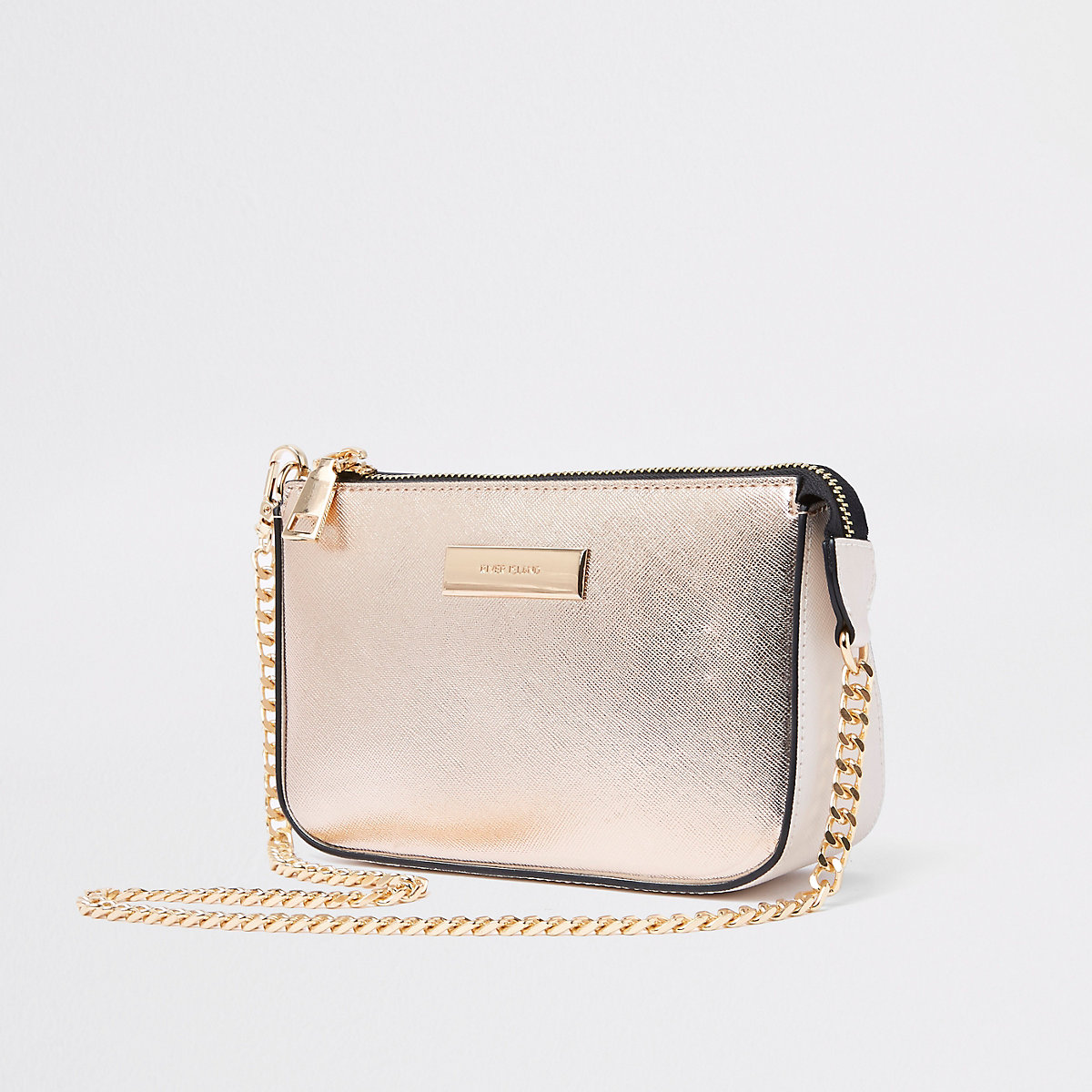 Gold metallic chain mini shoulder bag