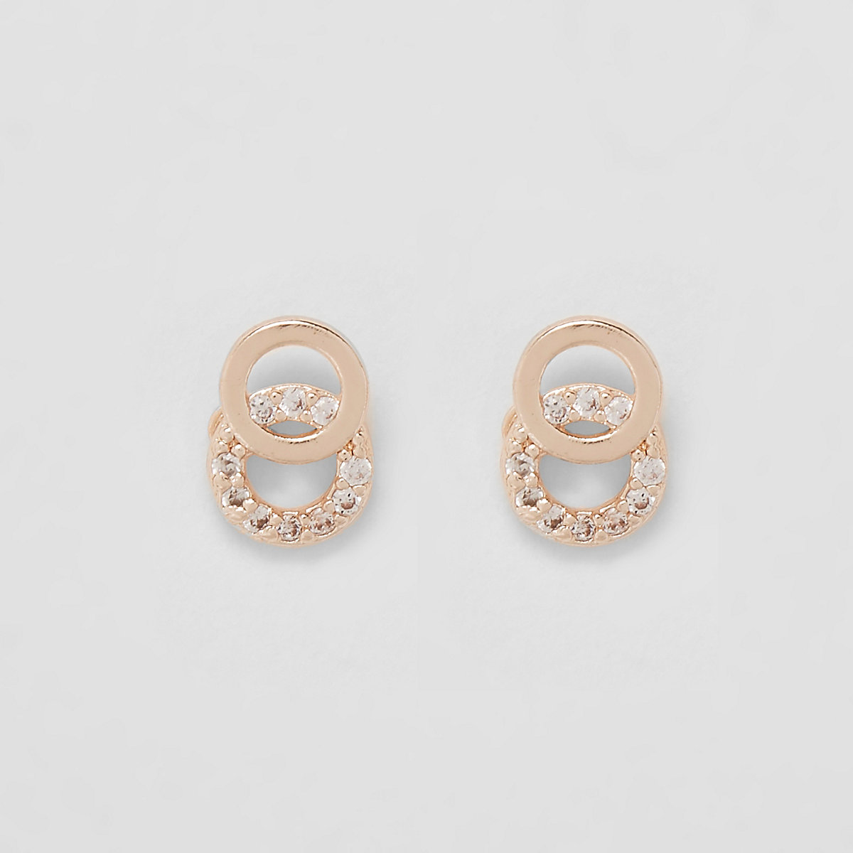 Gold plated circle stud earrings