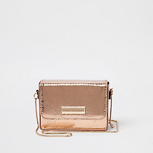 Rose gold boxy mini cross body bag