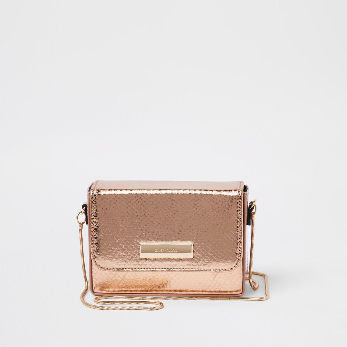 Rose gold boxy mini cross body bag