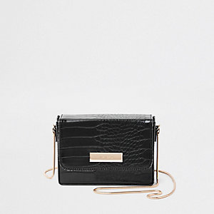 Black mini boxy cross body bag