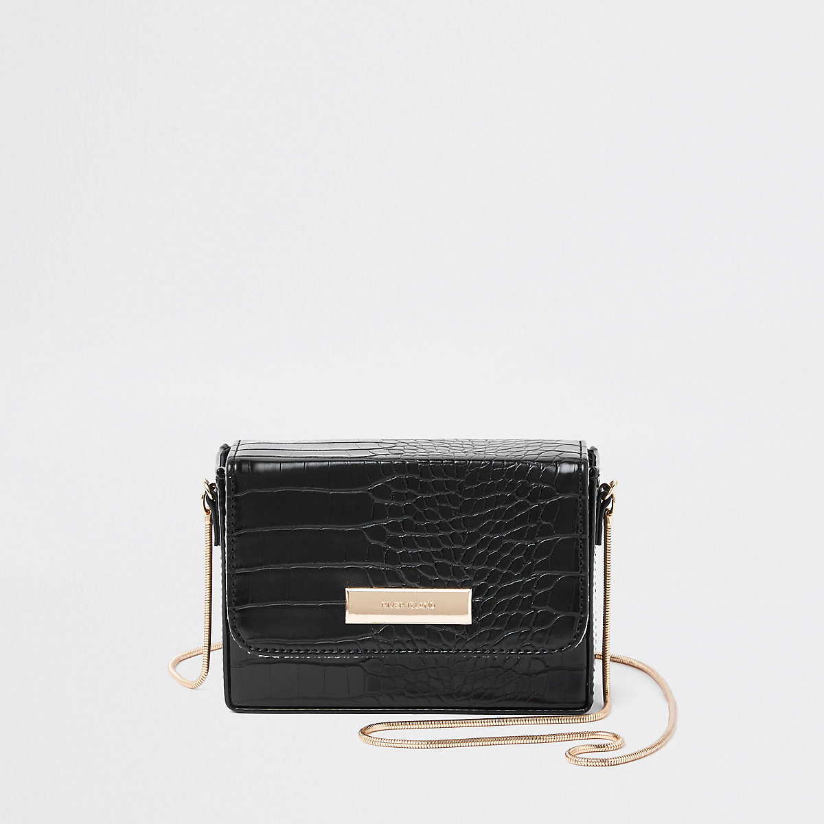 Black mini boxy mini boxy cross body bag