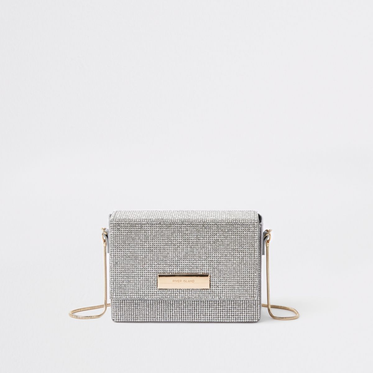 Silver rhinestone chain mini cross body bag