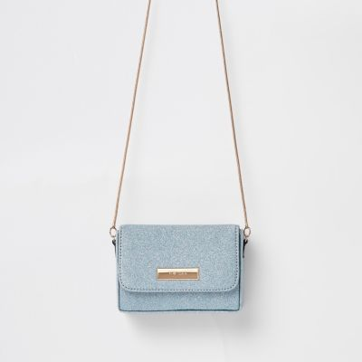 Blue Glitter Mini Cross Body Bag by River Island