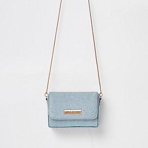 Blue glitter mini cross body bag