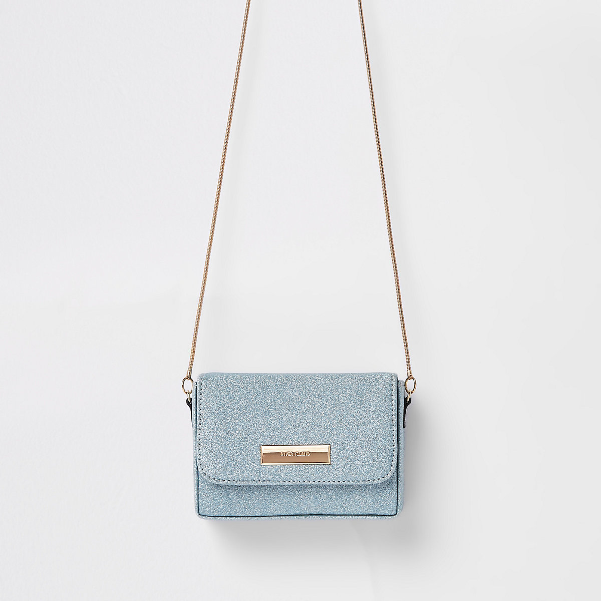 Blue glitter mini cross body bag