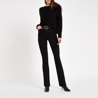 Black High Rise Bootcut Flared Jeans by River Island