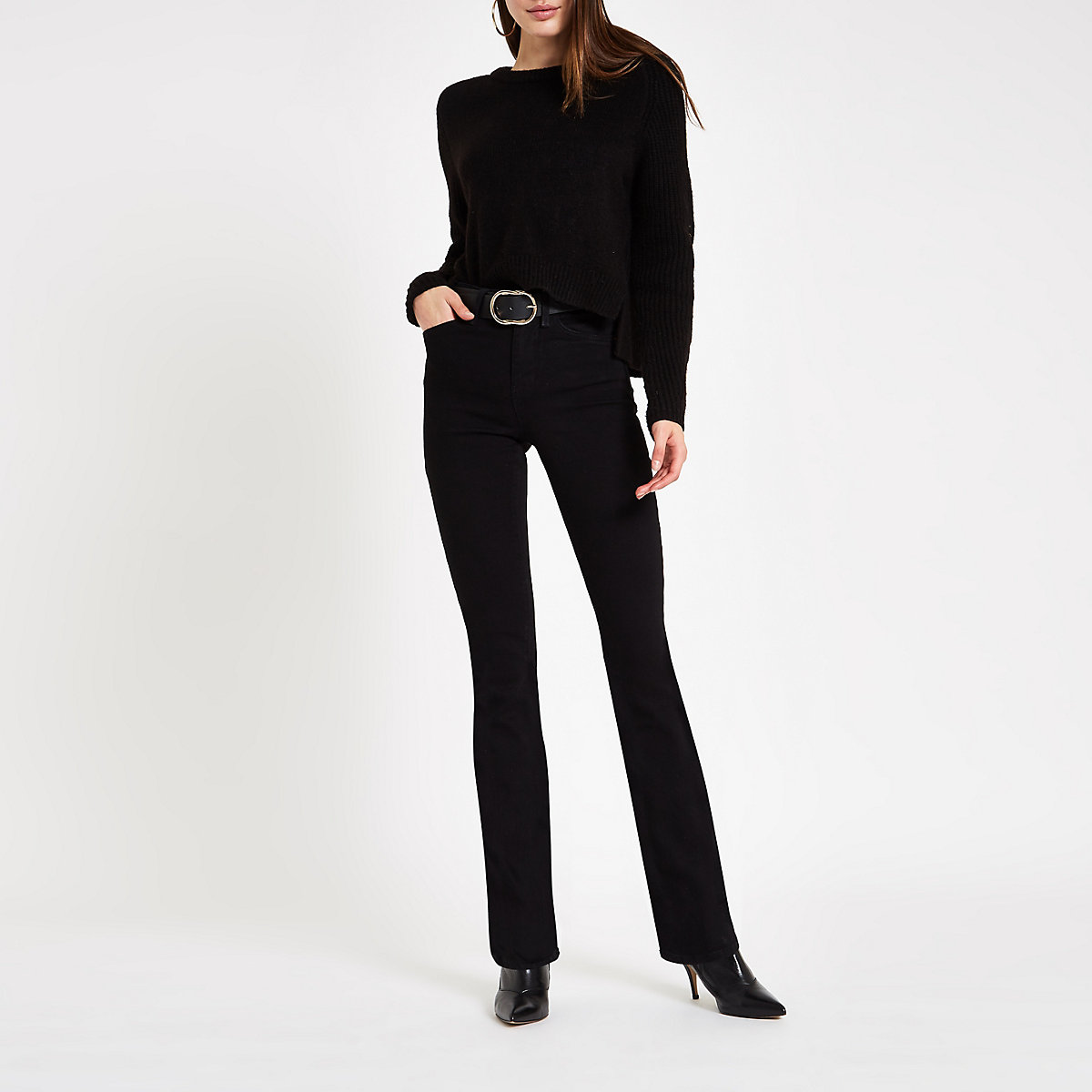 Black high rise bootcut flare jeans