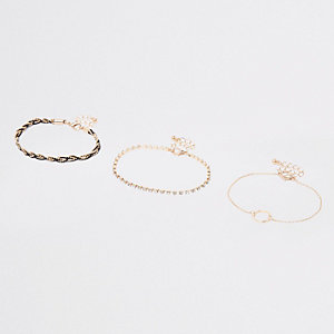 Gold plaited rhinestone circle bracelet pack