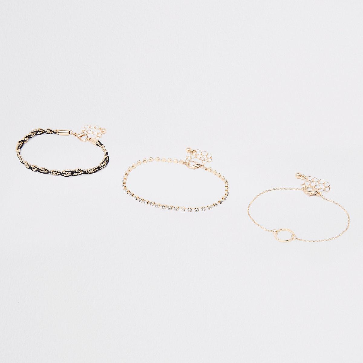 Gold plaited diamante circle bracelet pack