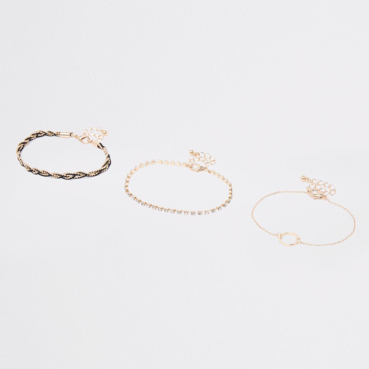 Gold plaited rhinestone circle bracelet pack