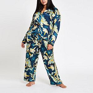 Plus – Chemise de pyjama en jacquard bleue nouée devant