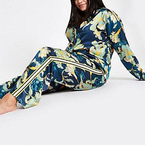 Plus – Pantalon de pyjama en jacquard bleu à fleurs