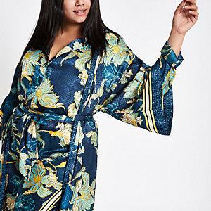 Plus – Kimono long à fleurs en jacquard de satin bleu