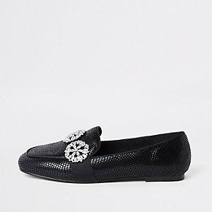 Zwarte loafers met krokodillenreliëf en rand met siersteentjes