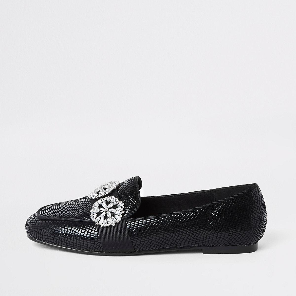 Black croc jewel trim loafers