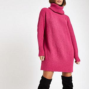 Roze gebreide trui-jurk met col