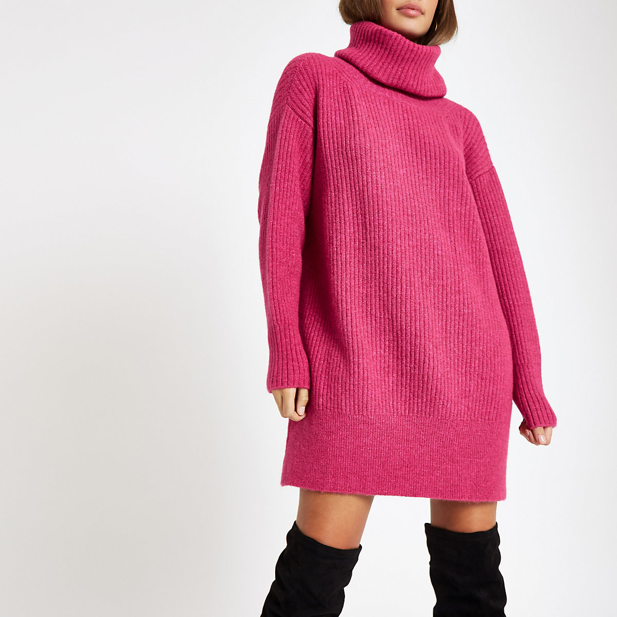 Pink knit roll neck sweater dress