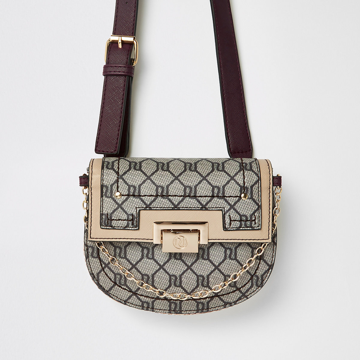 Beige RI monogram lock front belted bum bag