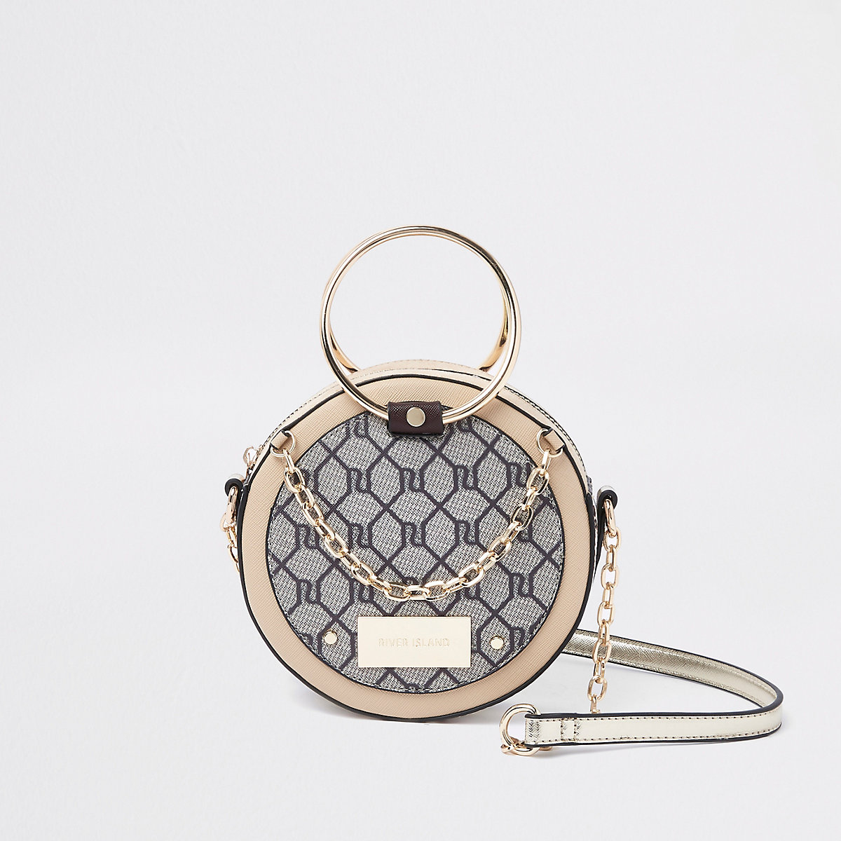 Beige RI monogram circle cross body bag