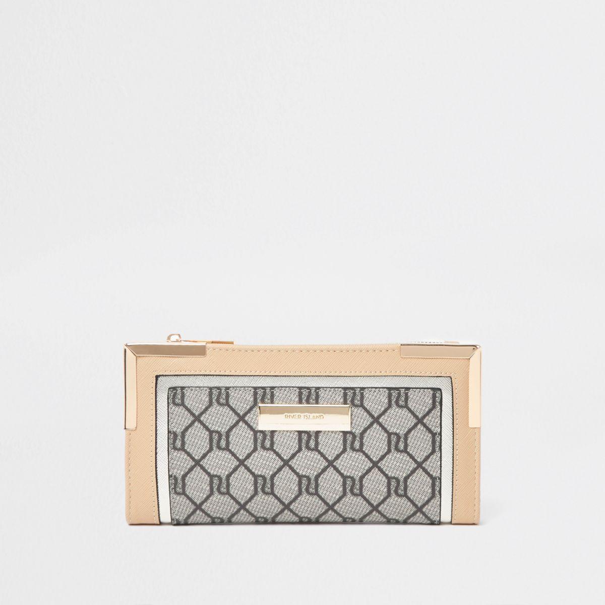 Portefeuille à rabat beige avec monogramme RI
