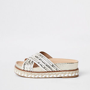 White cross strap espadrille platform sandals