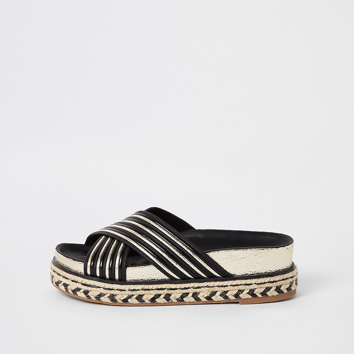Black cross strap mule sandals